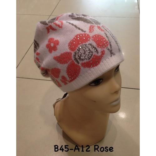 Bonnet en laine fleur & strass